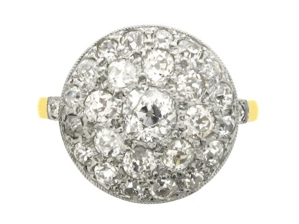 front view Diamond coronet cluster ring, circa 1910.