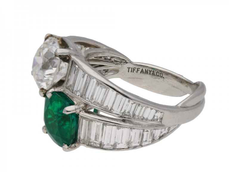 Tiffany & Co. emerald  diamond ring berganza hatton garden