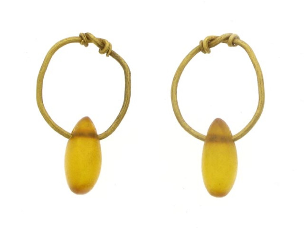 Ancient Roman amber earrings, 2nd-3rd century AD.
