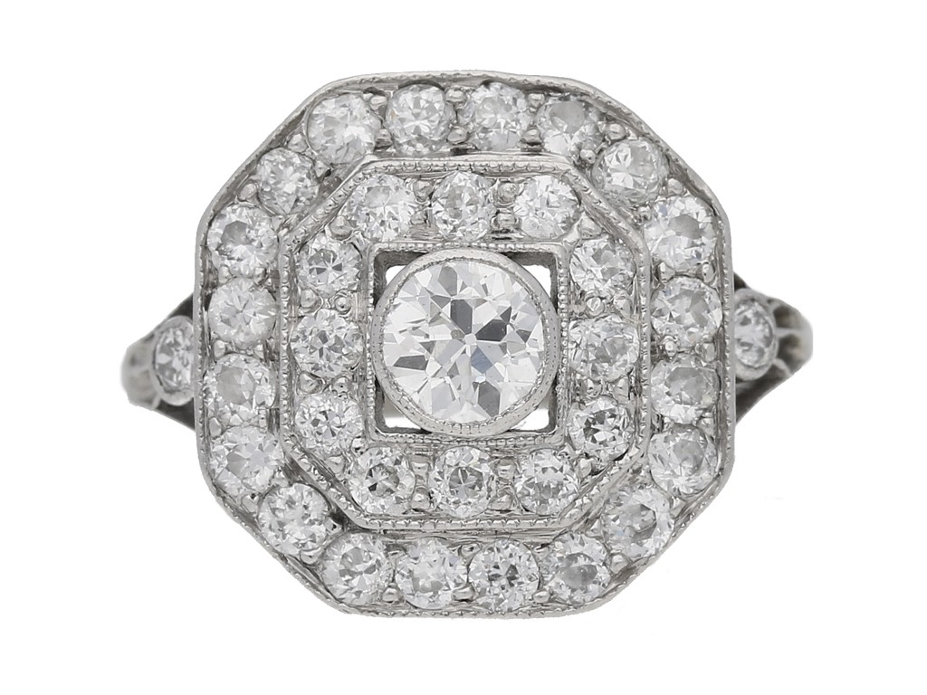 front view Art deco diamond cluster ring hatton garden berganza