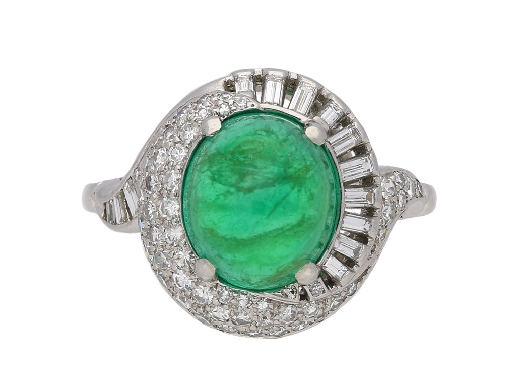 Cabochon Colombian emerald diamond ring berganza hatton garden