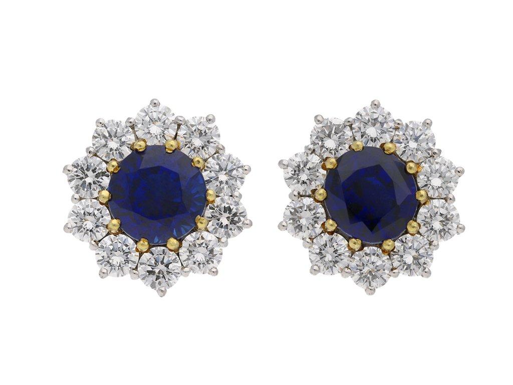 Sapphire and diamond cluster earrings berganza hatton garden