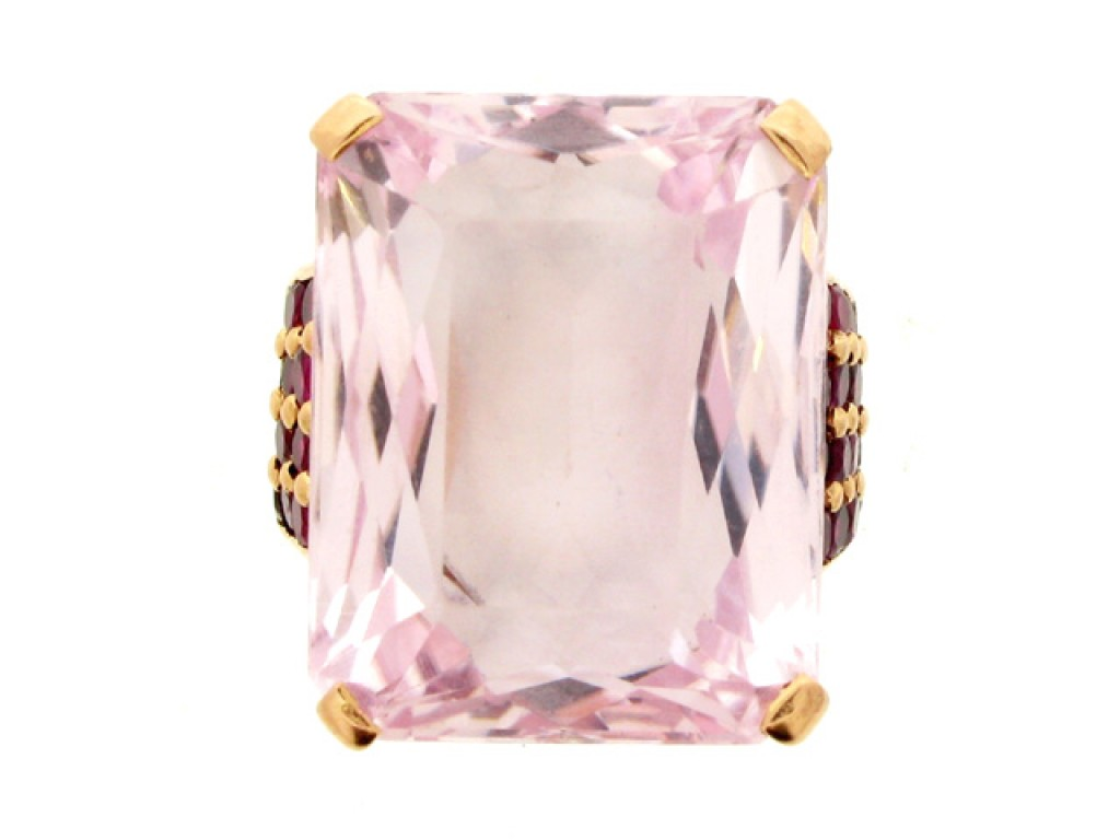 front view Kunzite and ruby cocktail ring, circa 1940.