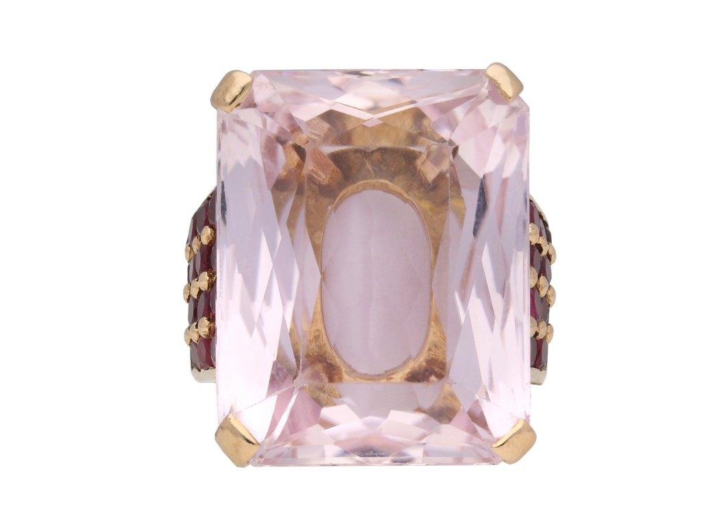 Kunzite and ruby cocktail ring berganza hatton garden