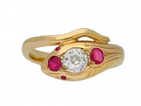 Antique ruby and diamond snake ring