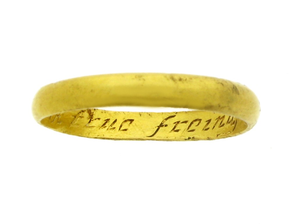 Gold posy ring, 'A true freinds token', 18th century.