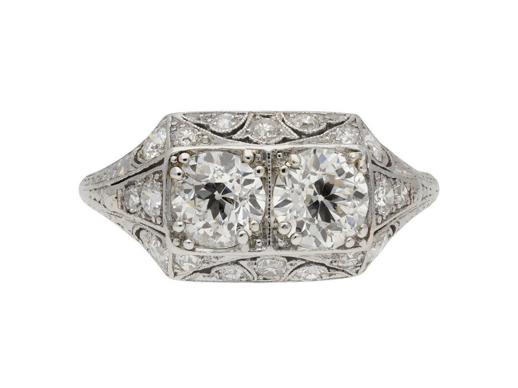 Art Deco diamond two stone cluster ring berganza hatton garden