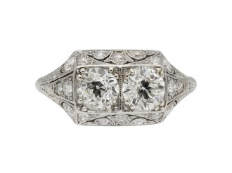 Art Deco diamond two stone cluster ring berganza hatton garden