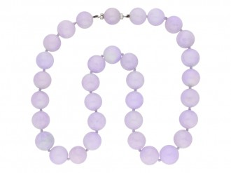 Natural Lavender jadeite jade bead necklace hatton garden