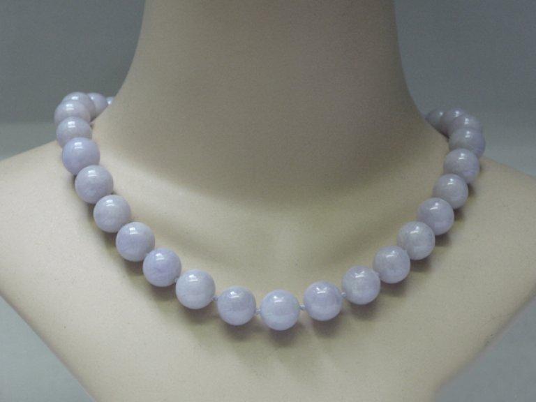 Natural Lavender jadeite jade bead necklace Berganza hatton garden