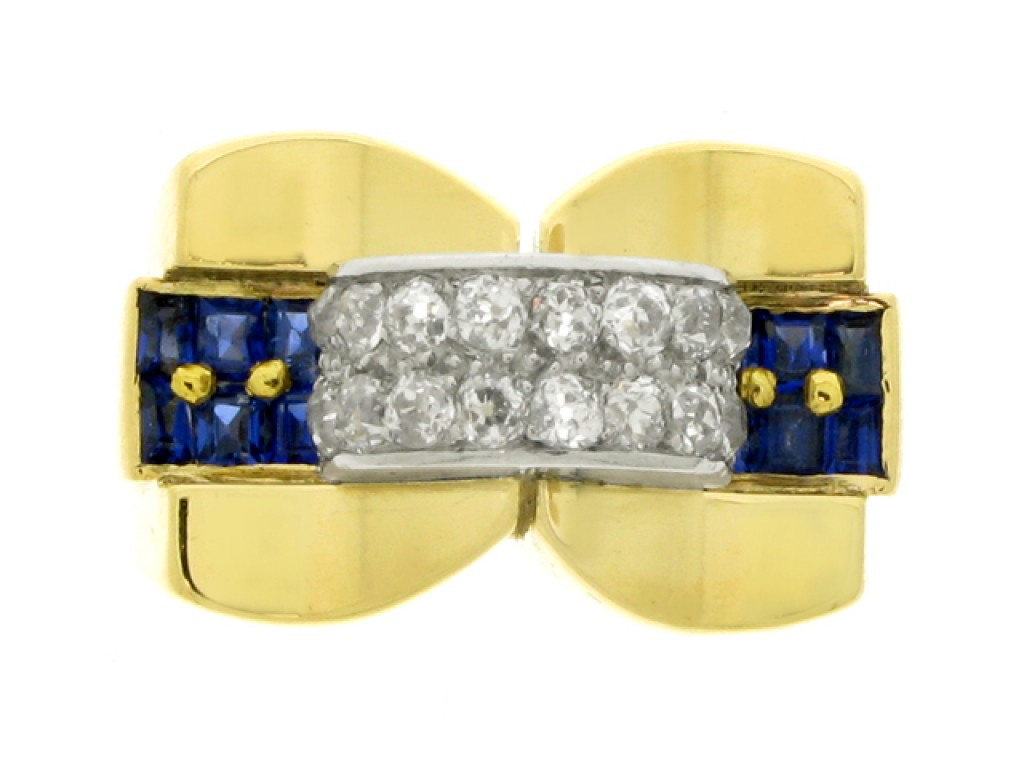 front view Sapphire and diamond cocktail ring, Swedish, circa 1940.