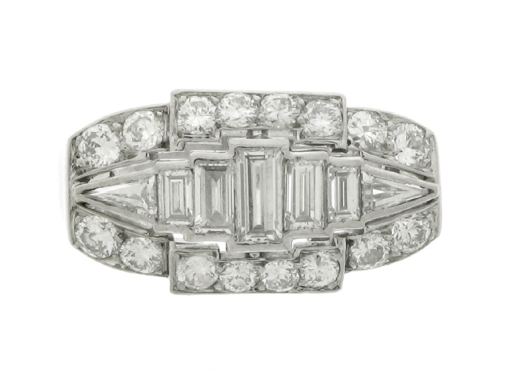 front view Three row diamond ring, circa 1935.