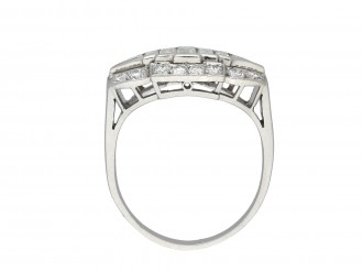 Art deco three row diamond cluster ring hatton garden