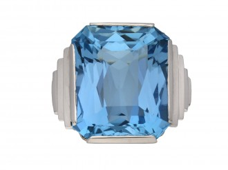 Art Deco solitaire aquamarine ring berganza hatton garden