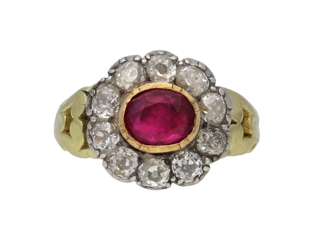 Antique ruby diamond coronet cluster ring berganza hatton garden