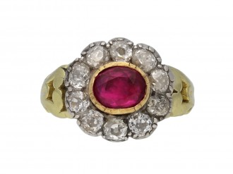 Antique ruby diamond coronet cluster ring berganza hatton garden