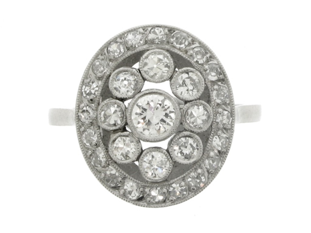 front view Diamond coronet cluster ring, French, circa 1915.