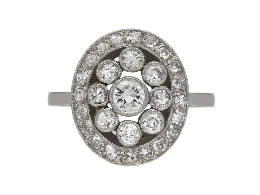 Diamond coronet cluster ring berganza hatton garden