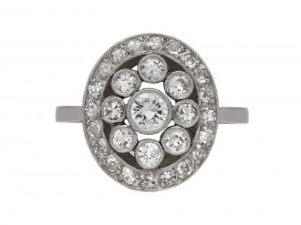 Diamond coronet cluster ring berganza hatton garden