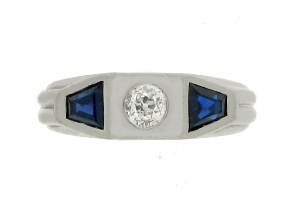 front view Sapphire and diamond three stone ring, circa 1920.