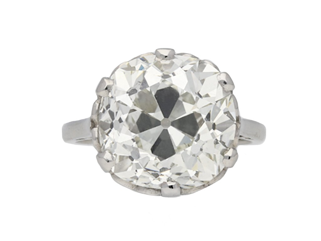 Cushion shape old mine diamond ring berganza hatton garden