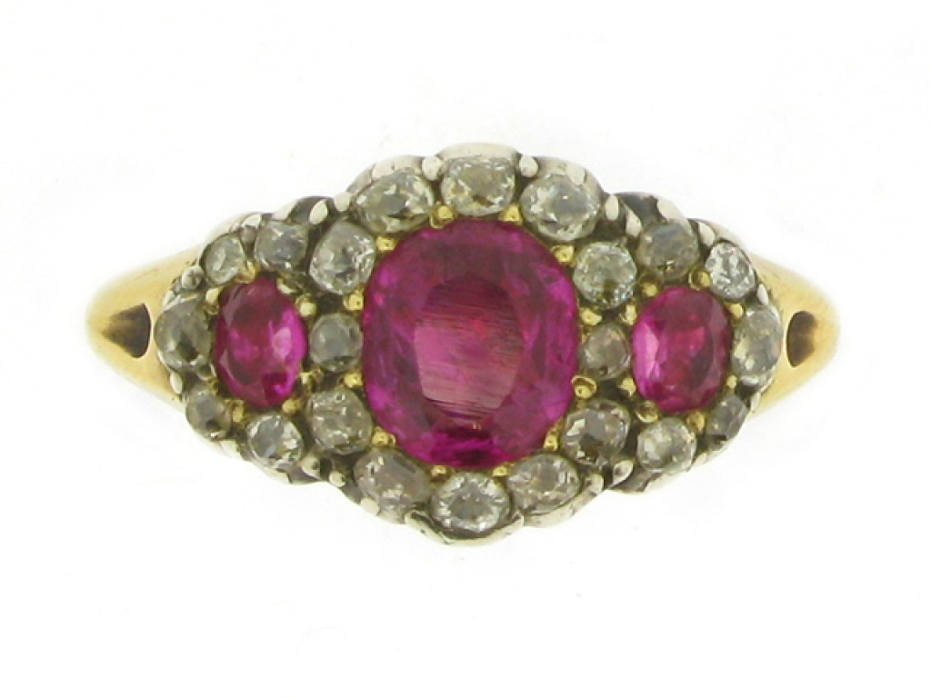 front view Georgian triple ruby and diamond cluster ring, circa 1830.