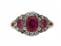 Georgian triple ruby diamond cluster ring hatton garden berganza