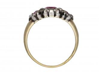 Georgian triple ruby diamond cluster ring hatton garden berganza