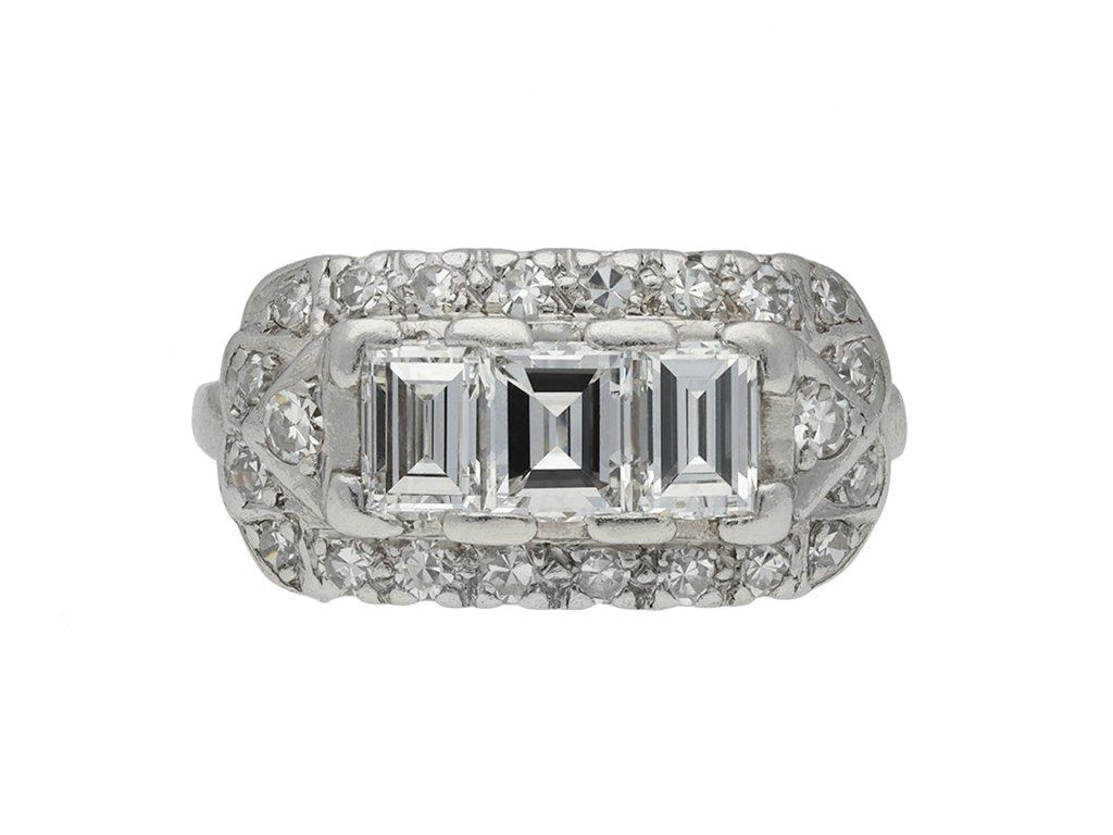 1930's diamond cluster ring, American hatton garden