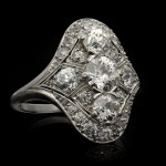 Oval diamond cluster ring, circa 1920.