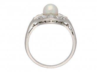 Natural pearl and diamond cluster ring berganza hatton garden
