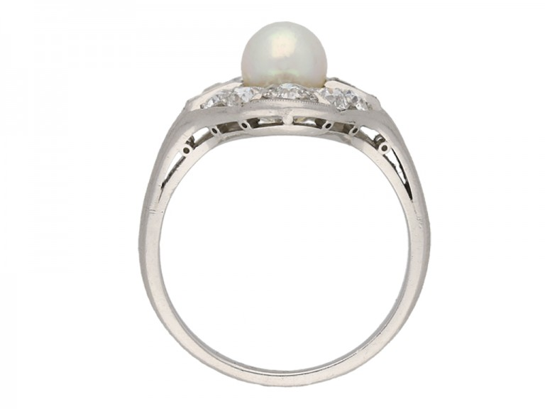 Natural pearl and diamond cluster ring berganza hatton garden