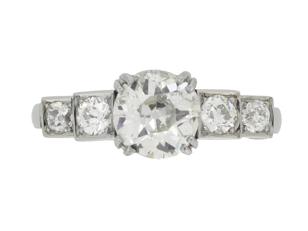 front view antique diamond stud