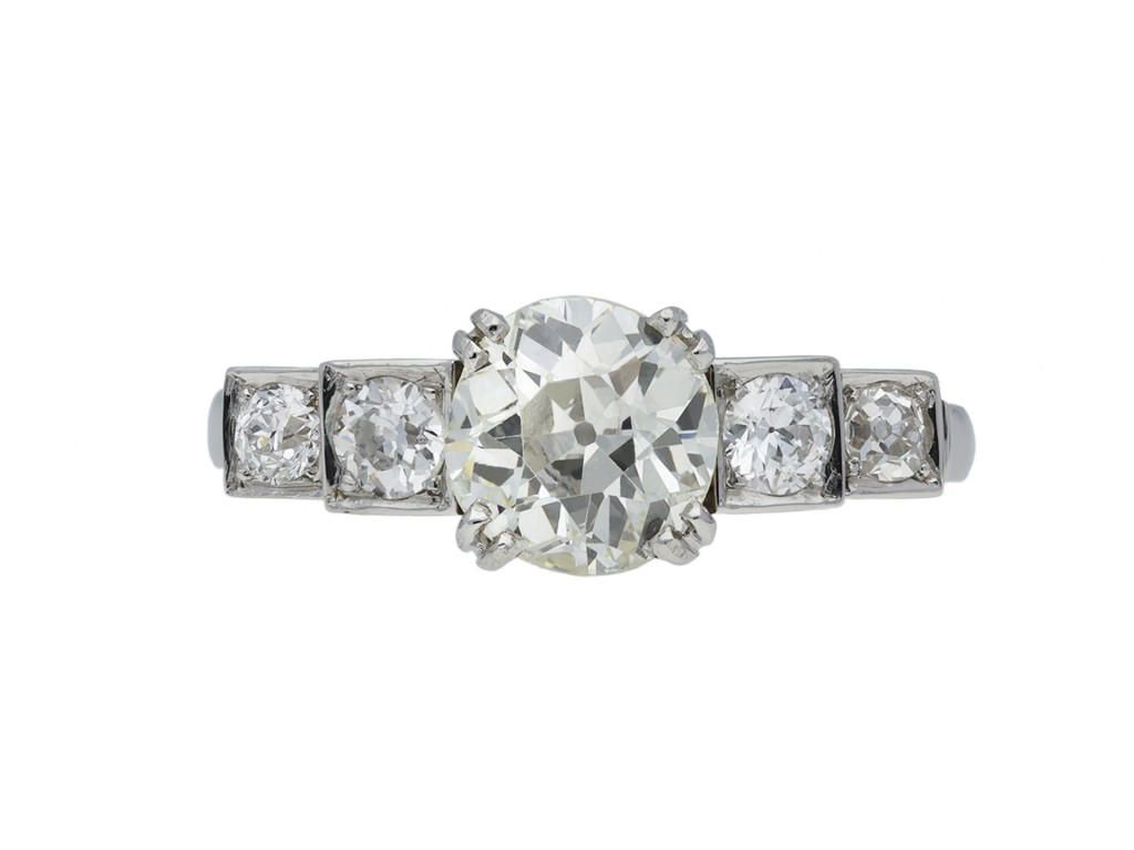 Art Deco diamond flank solitaire ring berganza hatton garden