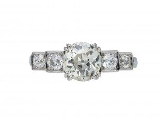 Art Deco diamond flank solitaire ring berganza hatton garden