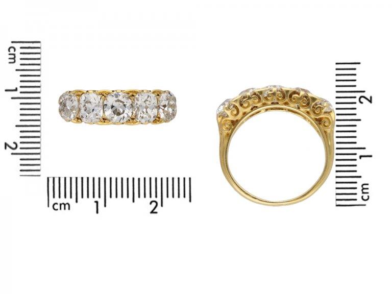 Antique five stone diamond ring, circa 1890.