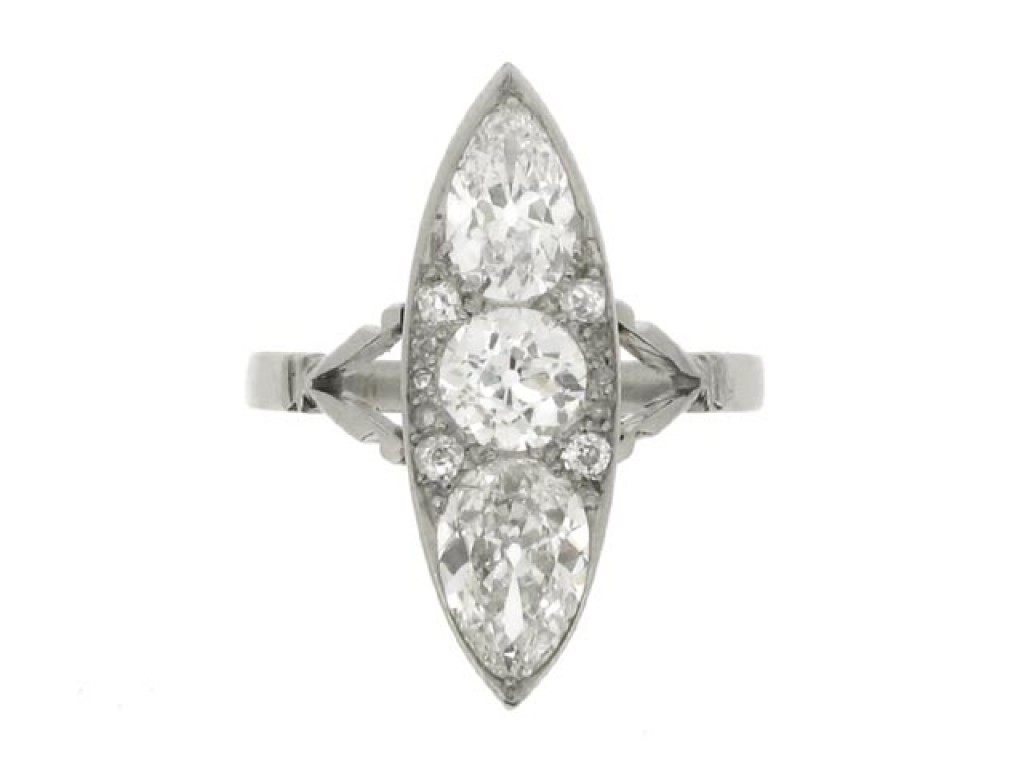 front view Marquise shaped diamond cluster ring, circa 1920.