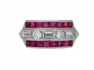 Ruby and diamond half hoop ring berganza hatton garden