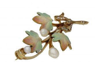 Art Nouveau enamel, pearl diamond brooch berganza hatton garden
