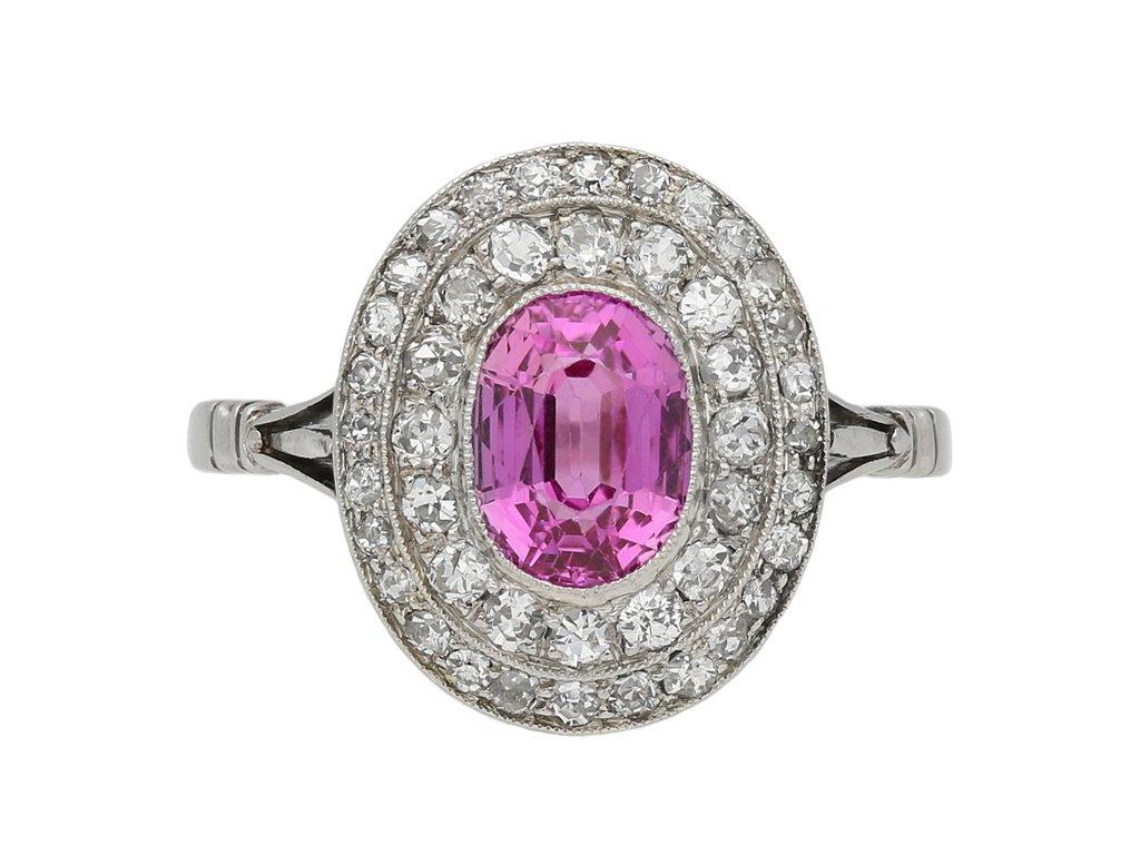 pink sapphire coronet cluster ring berganza hatton garden