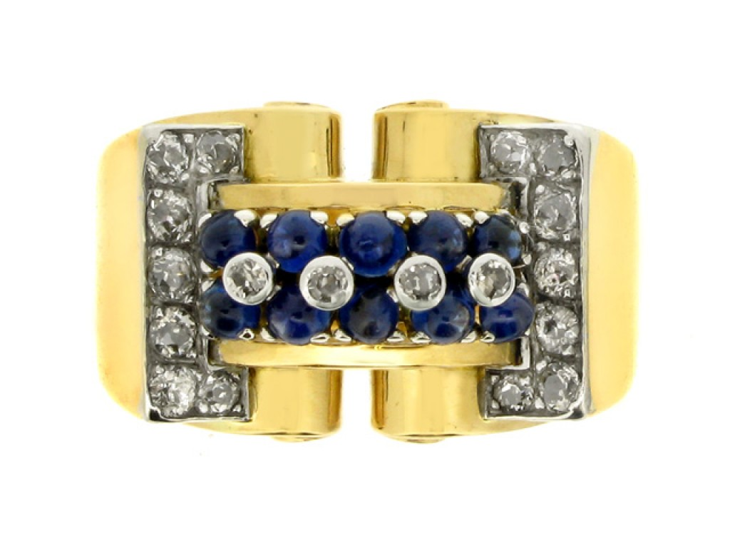 front view Cabochon sapphire and diamond cocktail ring, circa 1940.