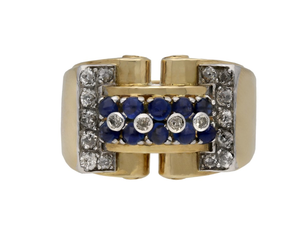 Cabochon sapphire diamond cocktail ring berganza hatton garden