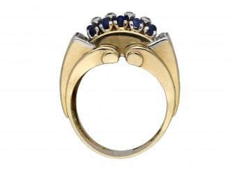 Cabochon sapphire diamond cocktail ring berganza hatton garden