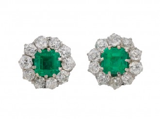 Colombian emerald diamond cluster earrings berganza hatton garden