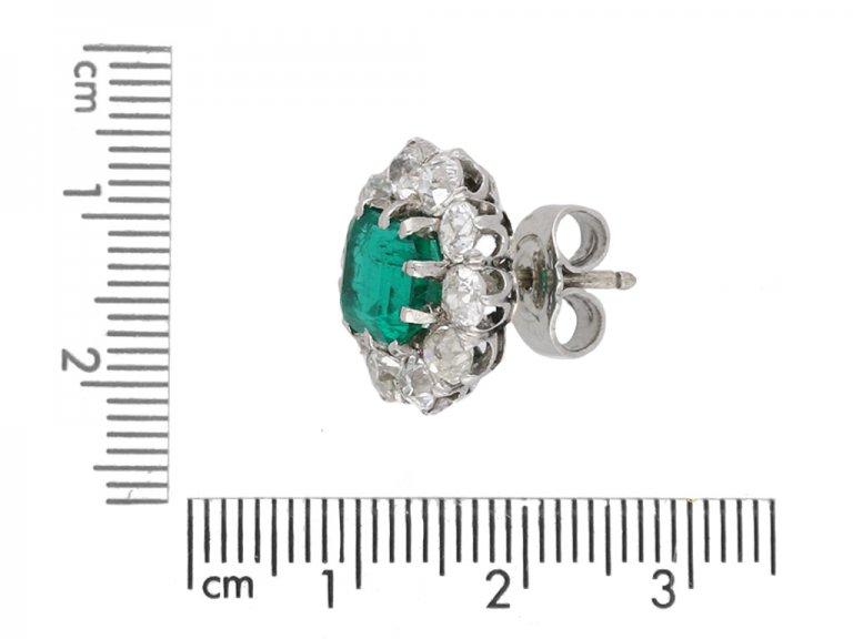 Colombian emerald diamond cluster earrings berganza hatton garden