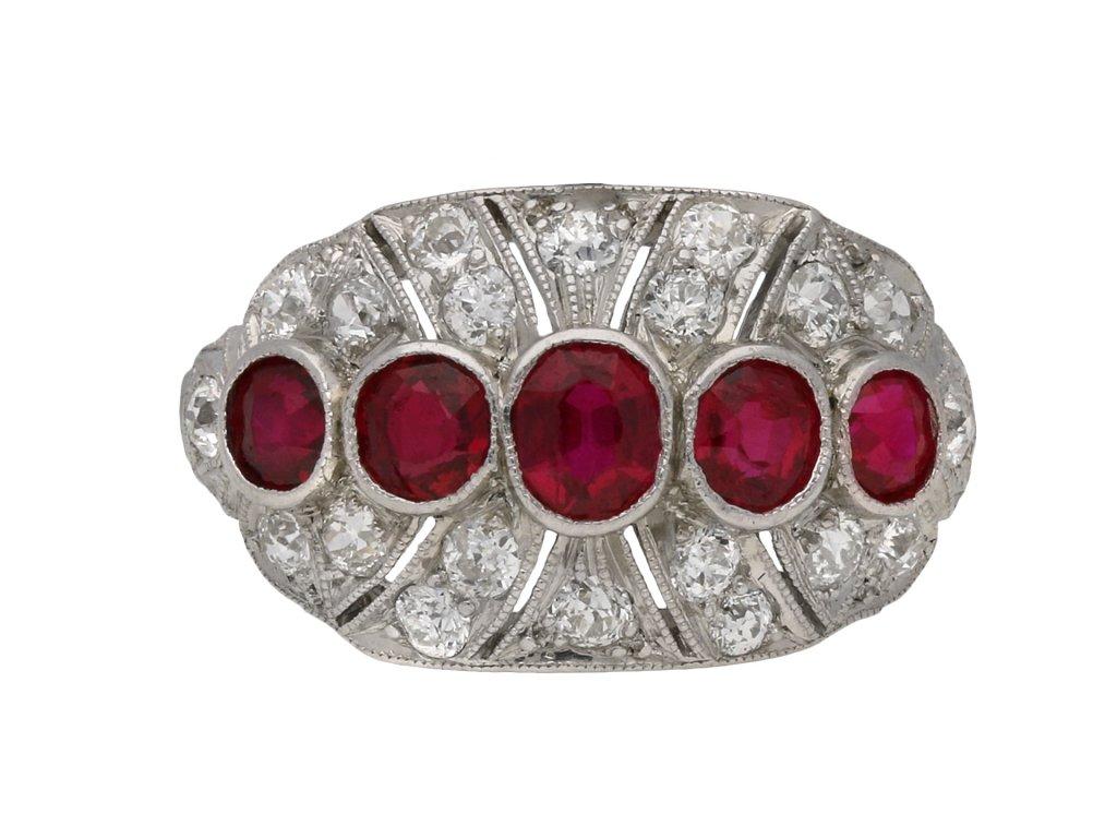 Five stone ruby and diamond cluster ring berganza hatton garden