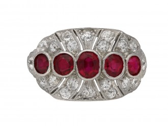 Five stone ruby and diamond cluster ring berganza hatton garden