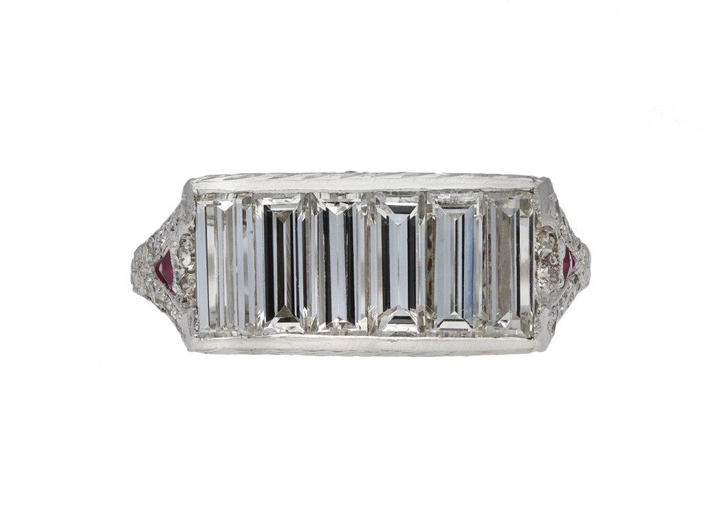 Baguette cut diamond and ruby ring berganza hatton gard