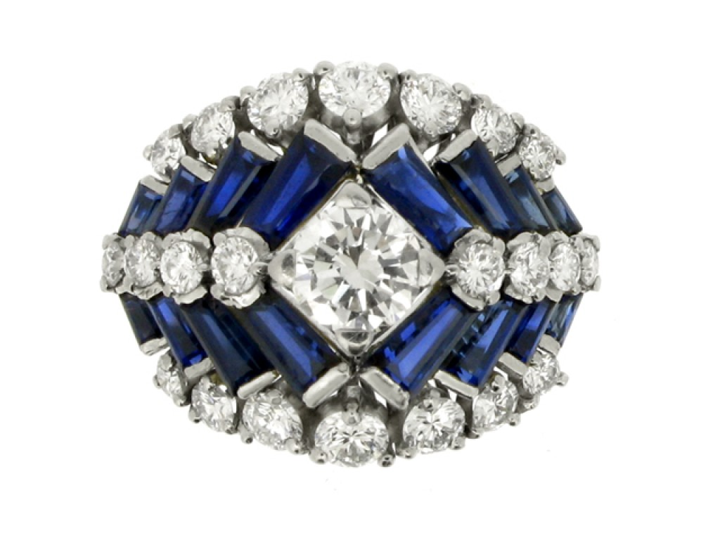front view Tiffany & Co. sapphire and diamond ring, American, circa 1960.