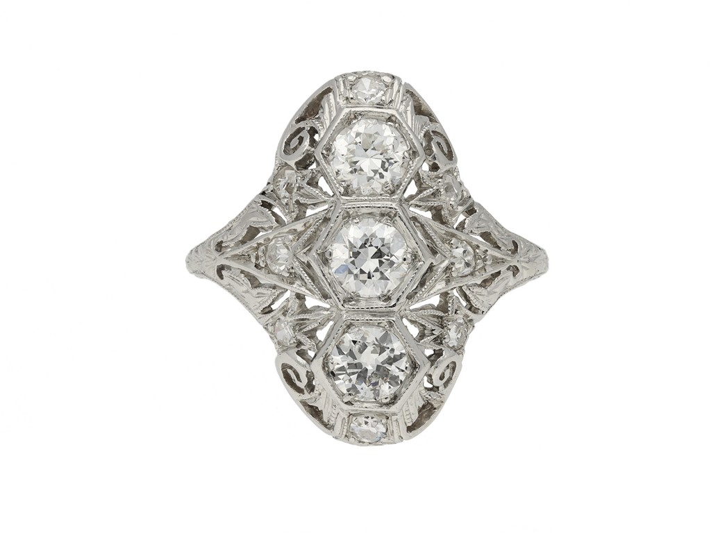 Three stone diamond cluster ring berganza hatton garden